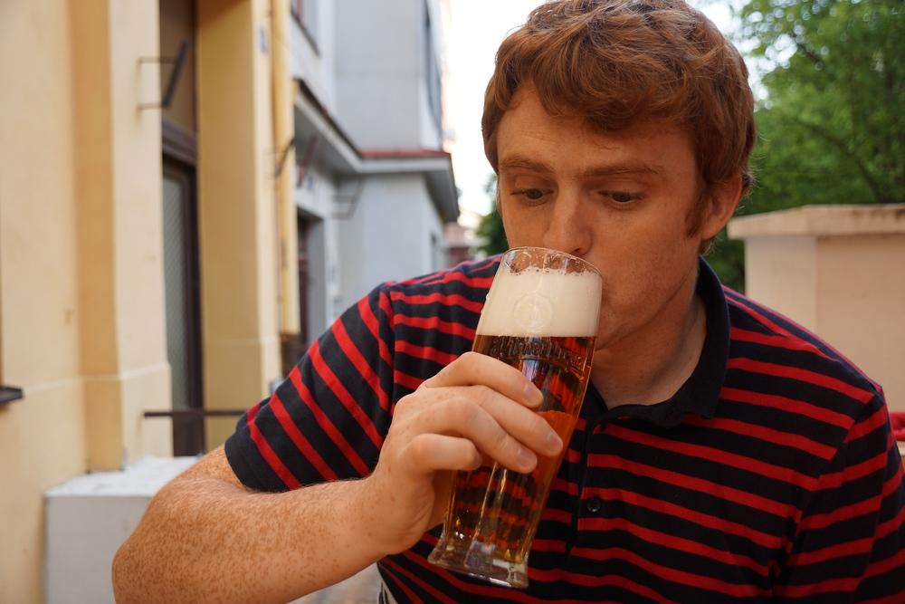 Drinking Pilsner Beer