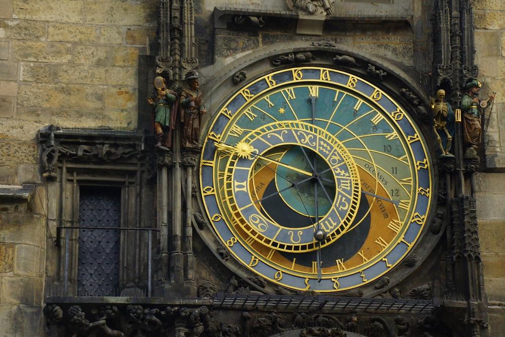 Views of the Astronomical Clock in Prague, Czech Republic