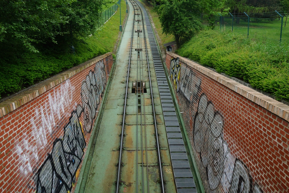 Taking the funicular up the hill