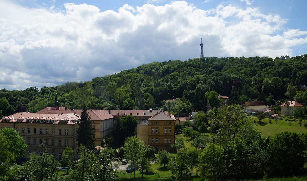 Scenic views of Petrin Tower from a distance