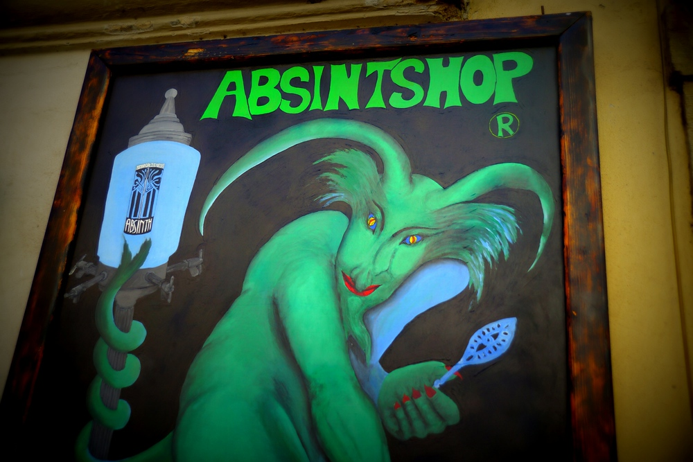 Absinthe poser in Prague, Czech Republic