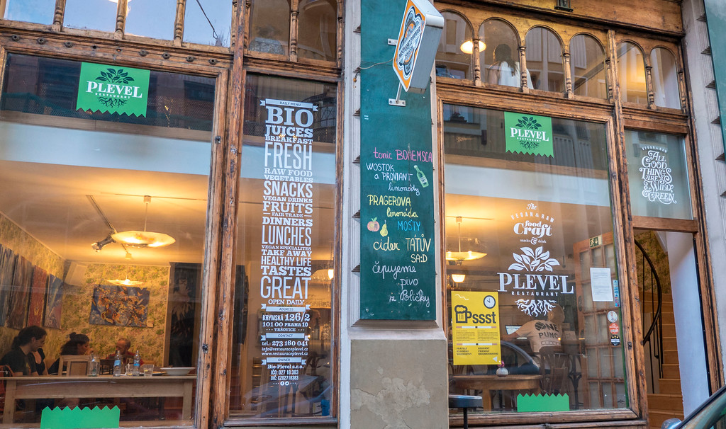 Plevel vegan restaurant in Prague