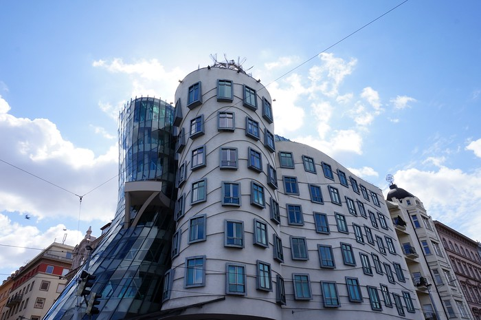 The Dancing House built in the Deconstructivist style.