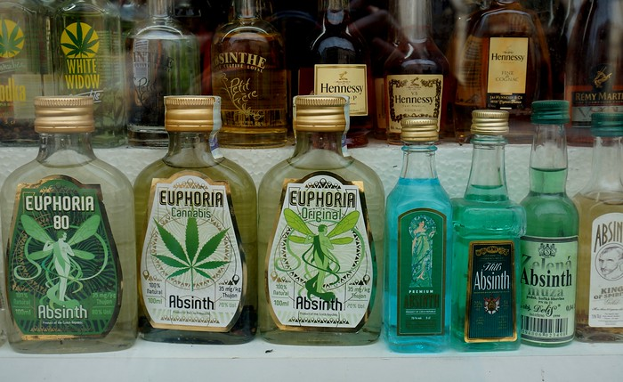 Where else is absinthe readily available if not in Prague?