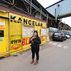 Emilie leaving the Kolbenova Flea Market with her new Czech teapot