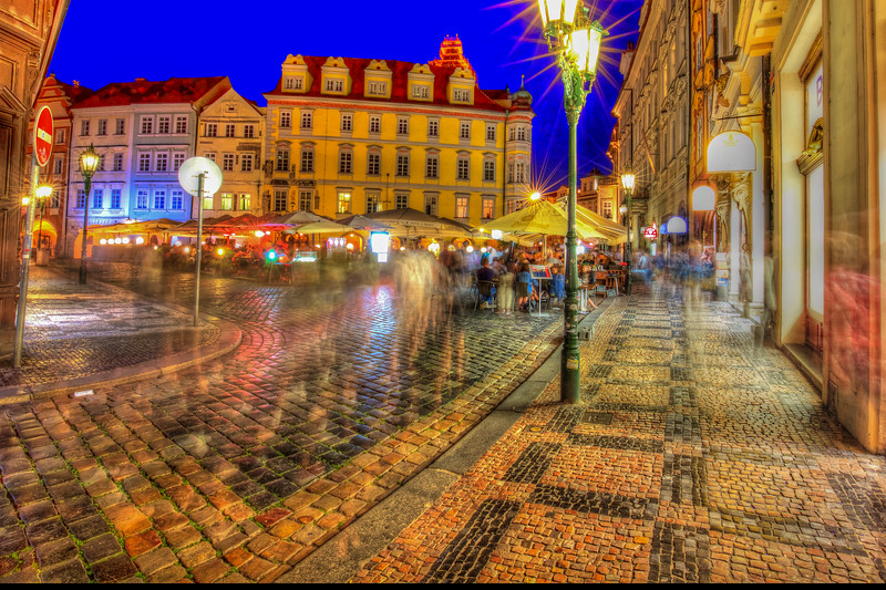 Cafe, Old Town Square In Prague, Long Exposure