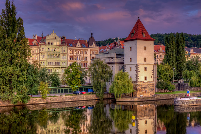 Water Tower Along Vtlava River, Prague, Czech Republic