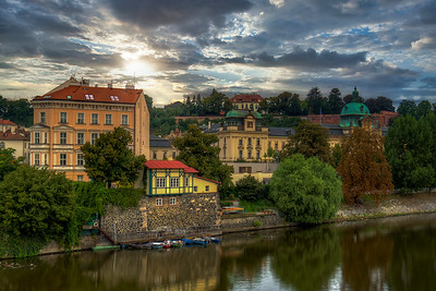 Boats Along The Bank In Prague
