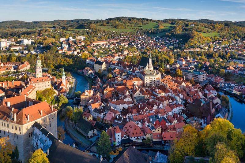 Late Afternoon Cesky Krumlov Aerial View