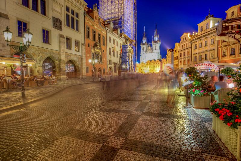 Old Town Square Long Exposure At Night, Prague