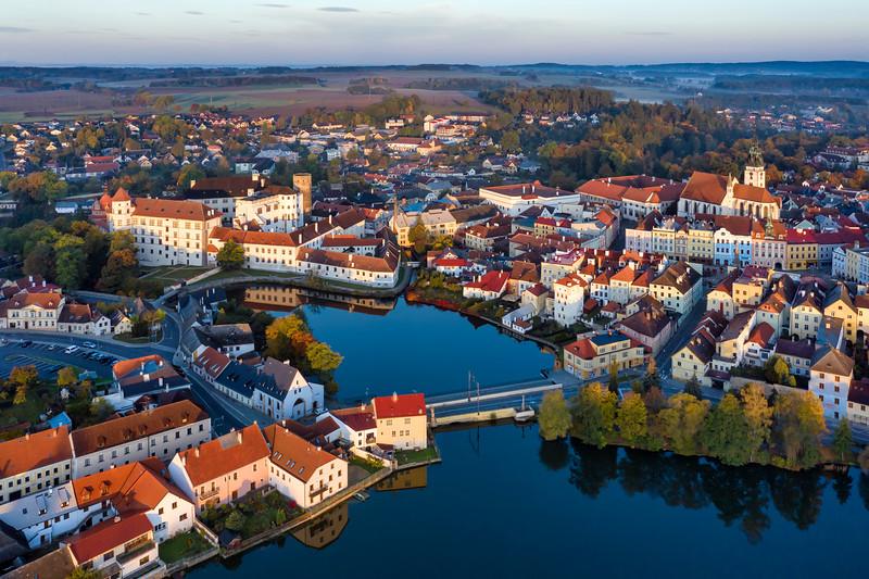 Jindrichuv Hradec Castle Pond Aerial