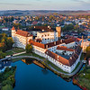 Jindrichuv Hradec Castle Pond Aerial Sunrise