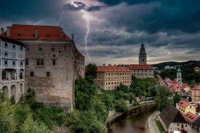Lightning Over Cesky Krumlov Castle
