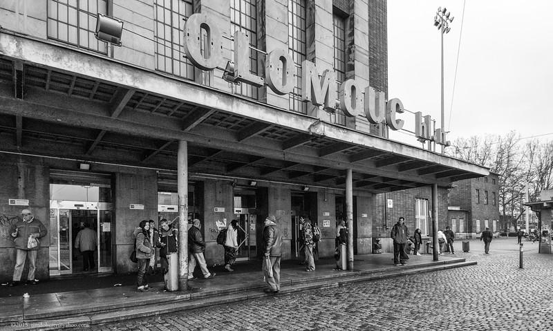 The front entrance of Olomouc's main station - Olomouc Hlavní Nádraží.