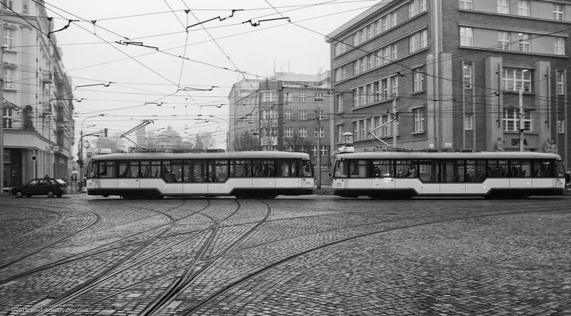 A pair of modernized low floor trams in Olomouc, Czech Republic.