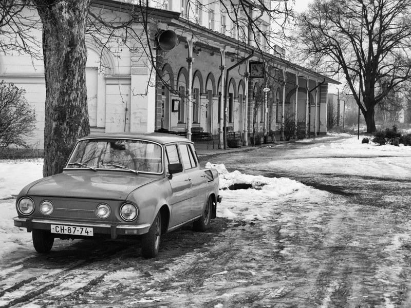 A 1970s vintage Skoda-110L outside of the Kynšperk nad Ohří railroad station in the Czech Republic.