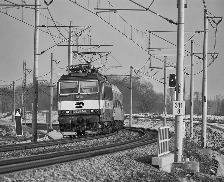 A Class 362 locomotive takes an express train towards Prague at Pardubice-Opočínek in the Czech Republic.