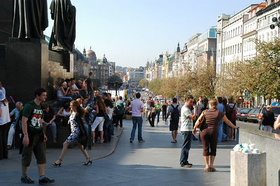A view of St. Wenceslas Square form the Museum side (Prague).