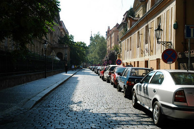 A quiet residential street view in Prague (Praha) 2.