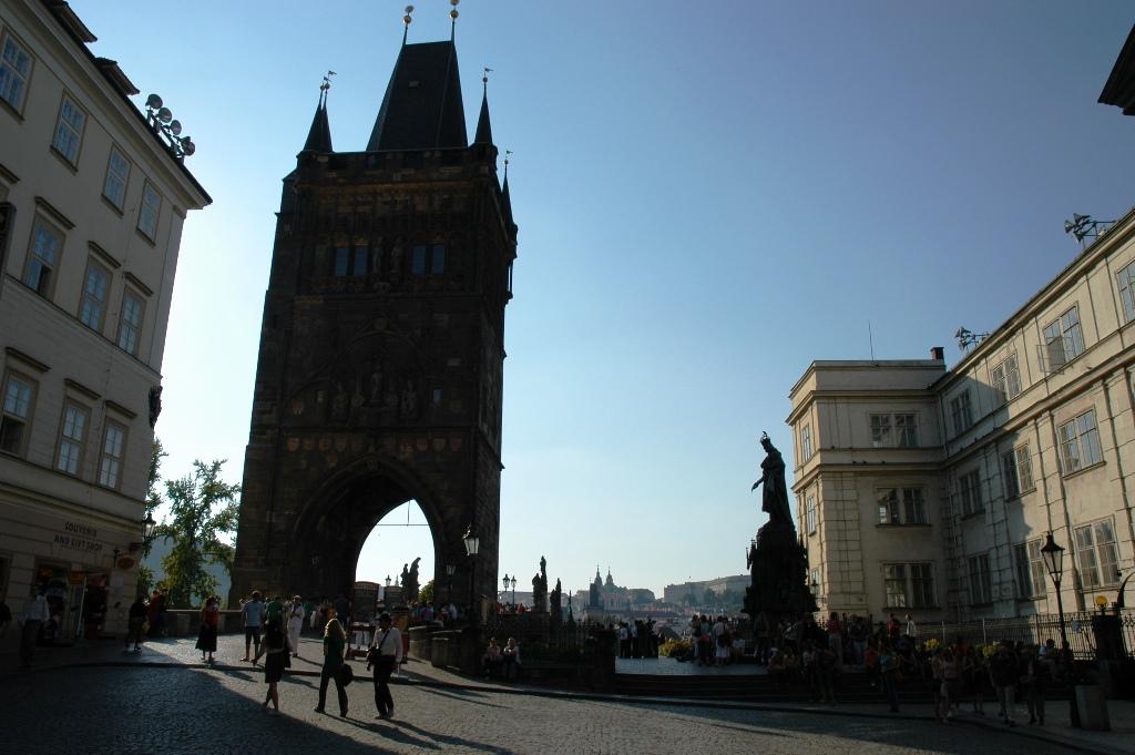 The Gate to Charles Bridge (south-eastern side)on Vltava River, Prague.