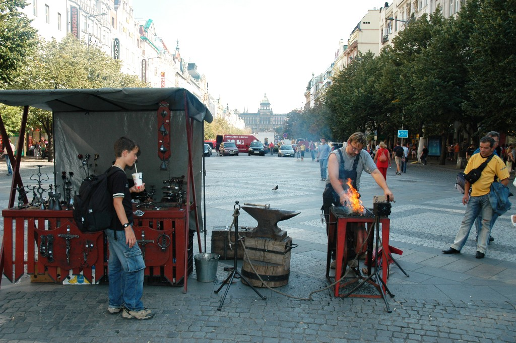 The blacksmith at the St. Wenceslas Square of Prague.
