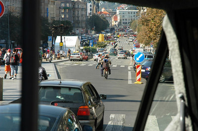 A view of St. Wenceslas Square from the tour bus.
