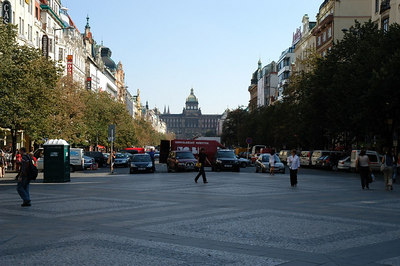 A view of St. Wenceslas Square showing the majestic Museum at the far end.