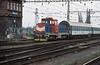CD 714-028 shunts a small cut of coaches at Brno HN on 6 November 2006