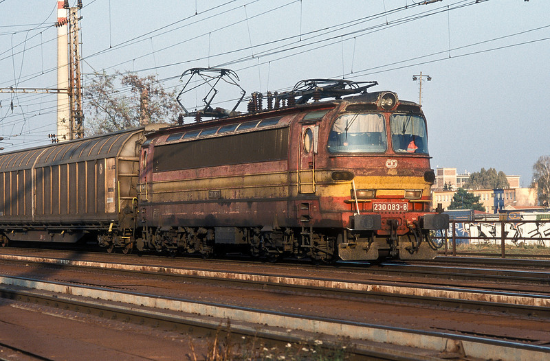 CD 230-083 heads for Kuty with a freight train leaving Breclav on 7 November 2006