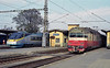 A study in multiple units! CD 681-002 has arrived at Breclav on the Inter City service from Prague as elderly ZS 560-031 sits alongside with a local service to Kuty on 7 November 2006