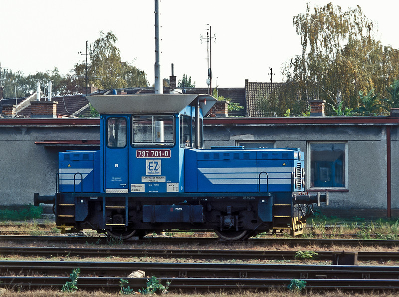 Rebuilt at Jihlava with a Caterpillar engine 797.701 works for elactrification company EZ and is seen stabled at Breclav on 11 October 2007 being used in the work of rebuilding the yard adjacent to the station