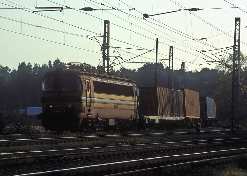In the late afternoon CD 230-107 rounds the curve with a liner train from Slovakia and approaches Breclav on 11 October 2007