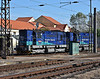 Unipetrol Doprava 740-690 and 740-839 run up into Kralupy nad Vitavou station to run round their train of tank wagons on 22 October 2010