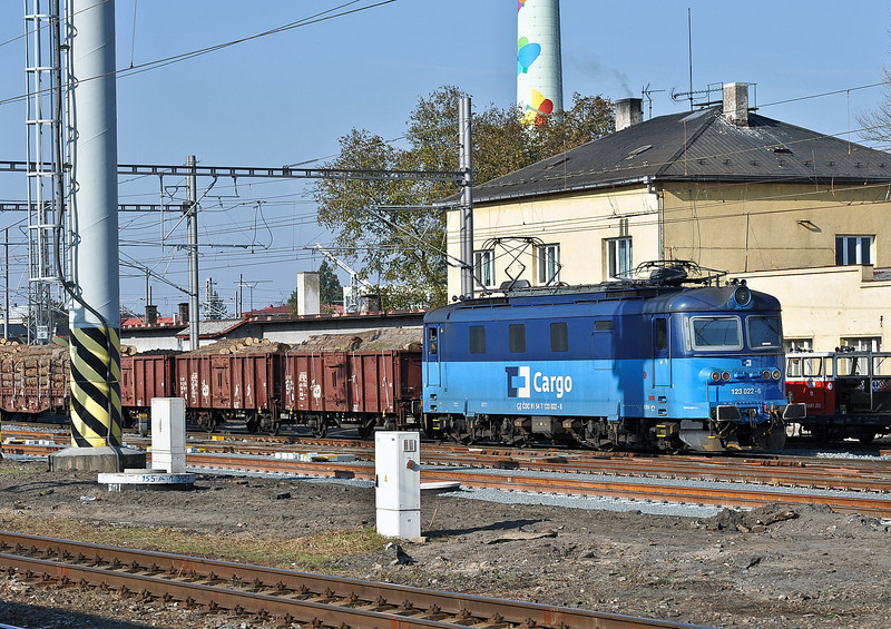 CD Cargo 123-022 heads for the yard at Kolin with a freight from the line to Nymburk on 23 October 2010