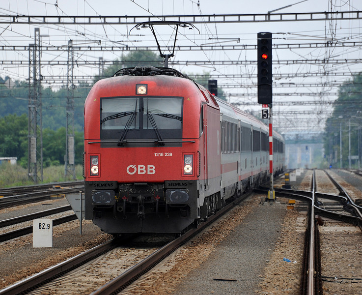 OBB 1216-239 arrives from Austria with EC172, the 05:26 from Villach to Berlin