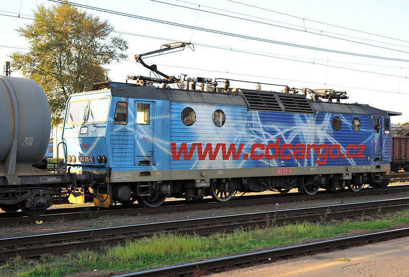 CD Cargo 363.015 wears what appears to be a 'one-off' livery at Ostrava on 28 September 2011