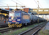 Unipetrol 121-073 runs through Ostrava on 28 September 2011 on the freight lines