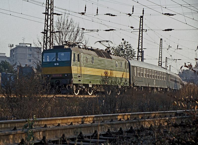 CSD 163-033 leaves Ceske Trebova with a passenger service on 30 October 1991