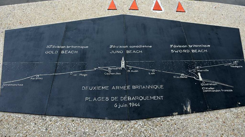 Arromanches, Normandy, 5 June 2019 1.  This plaque faces north and shows where the British and Canadians landed on D-Day.   The American beaches at Omaha and Utah were furtther west.