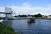 Site of Pegasus Bridge, Benouville, Normandy, 8 June 2019 2.  Looking south west over the Caen Canal to the 1994 bridge  Pegasus Bridge was replaced because it was too small to meet modern needs.