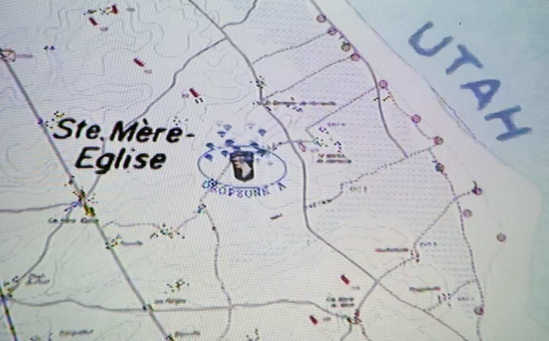 Map showing the relationship of Ste Mere Eglise and Utah beach, Normandy, 6 June 2019.  This was not the only drop zone.  The purpose of the paratroop and glider assault was to protect the seabone landings on Utah.
