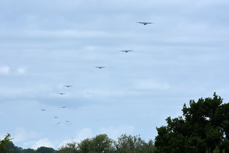 Start of the mass drop by the US 82nd (All American) Airborne Division, Iron Mike monument, west of Caen, Normandy, 9 June 2019.  Here are six photos of the drop.  The 82nd was re-enacting the division's drop on Ste Mere Eglise on D-Day 75 years earlier.  Ten C-130s can be seen.