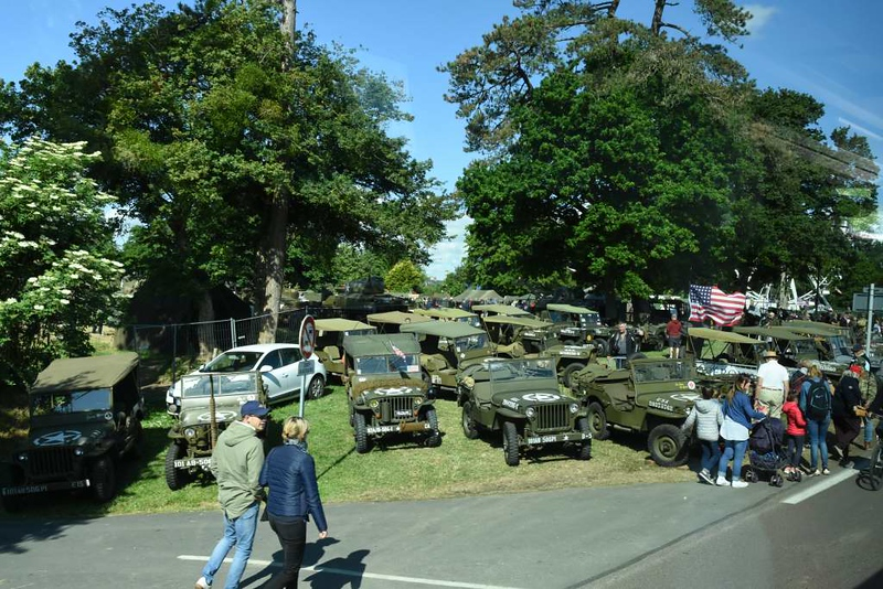 Re-enactment vehicles, Ste Mere Eglise, Normandy, 6 June 2019.  Re-enacters were out in force during D-Day 75.