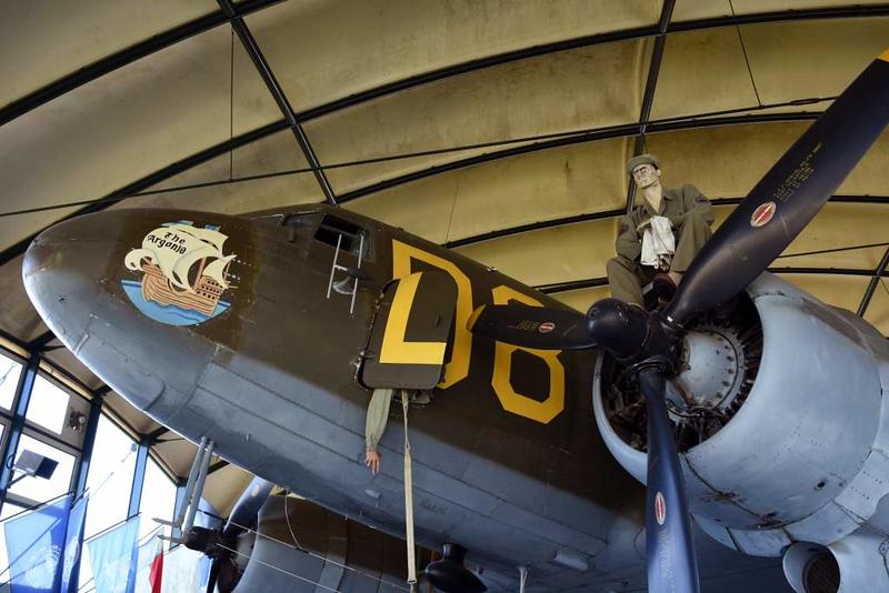USAAF Douglas C-47A Skytrain 42-100825 as D8-Z / 315159 The Argonia, Airborne Museum, Ste Mere Eglise, Normandy, 6 June 2019.