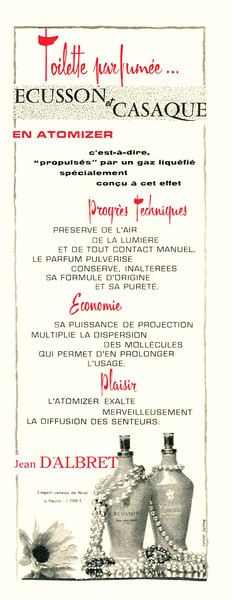 JEAN D'ALBRET Diverse (Écusson - Casaque) 1959 France half-page <br /> 'Toilette parfumée en atomiser'