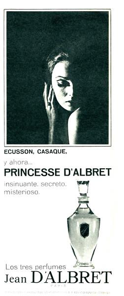 Princesse D'ALBRET 1966 Spain half page <br /> 'Écusson, Casaque, y ahora... Princesse  d'Albret - Insinuante, secreto, misterioso - Los tres perfumes Jean d'Albret Paris'