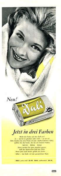 DALI soap 1959 Germany (half-page) 'Neu - Jetzt in drei Farben'