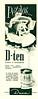DANA D-Ten deodorant 1957 Argentina half page 'Pétalos D-ten - Detienen  la transpiración'