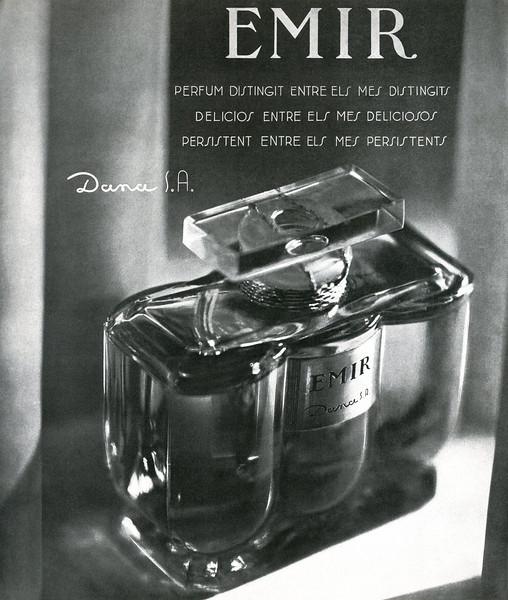 DANA Emir 1934 Spain (text in Catalan) 'Perfum distingit entre els més distingits, delicios entre els més deliciosos, persistent entre els més persistents'