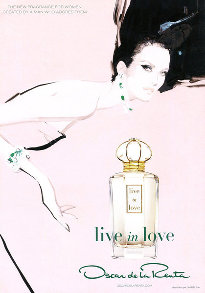OSCAR DE LA RENTA Live in Love 2011 Spain<br /> 'The new fragrance for women created by a man who adores them - Distribuido por Danbel SA'<br /> <br /> ILLUSTRATOR: David Downton